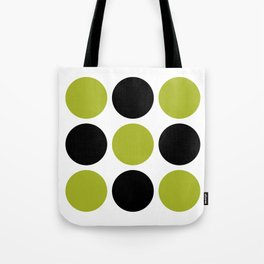 Mid Century Modern Polka Dot Pattern 9 Black and Chartreuse Tote Bag