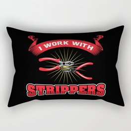 Funny ELECTRICIAN Pun: I Work With Strippers I am An Electrician Lineman Gift Rectangular Pillow