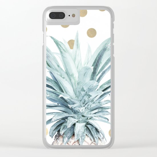 Pineapple crown - gold confetti Clear iPhone Case