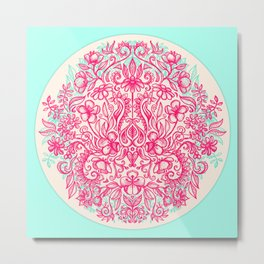 Spring Arrangement - floral doodle in pink & mint Metal Print