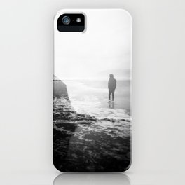 Alone on Cannon Beach - Film Double Exposure with Haystack Rock iPhone Case