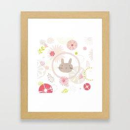 Floral Bunny Face Framed Art Print