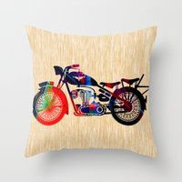 motorcycle Throw Pillows featuring Motorcycle by marvinblaine