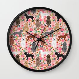 Poodle mixed coat colors brown poodle black poodle white poodle pet portrait dog art animal Wall Clock