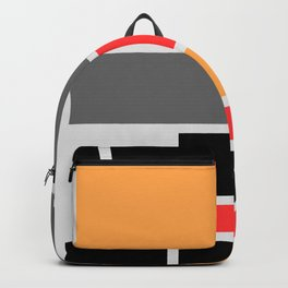 Mondrianista orange red black and gray Backpack