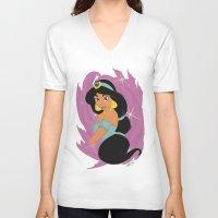 jasmine V-neck T-shirts featuring Jasmine by LarissaKathryn