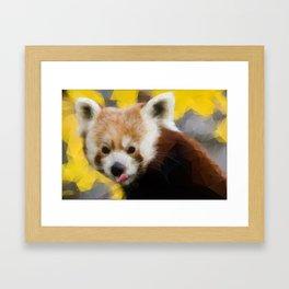 Red Panda in Triangles Framed Art Print