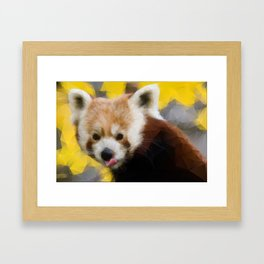 Red Panda in Triangles Framed Art Print