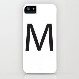 Letter M Initial Monogram - Black on White iPhone Case