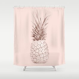 Rose Gold Pineapple on Blush Pink Shower Curtain