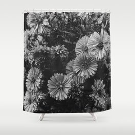 FLOWERS - FLORAL - BLACK AND WHITE Shower Curtain