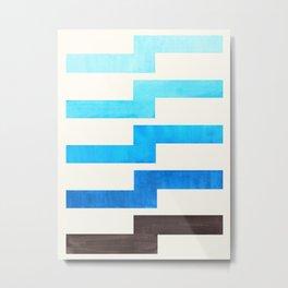 Blue Baby Blue Watercolor Minimalist Geometric Zig Zag Lightning Bolt Pattern Metal Print