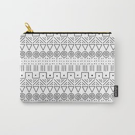 Mudcloth Style 1 in Black on White Carry-All Pouch