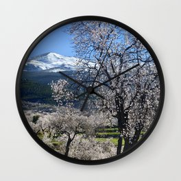 """""""Flowering Almonds"""". At The Mountains Wall Clock"""