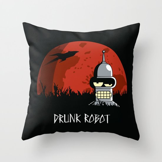 Drunk Robot Throw Pillow