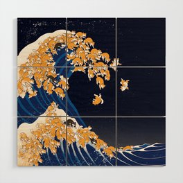 Shiba Inu The Great Wave in Night Wood Wall Art