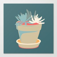 succulent Canvas Prints featuring Succulent by Rabbits In The Sky
