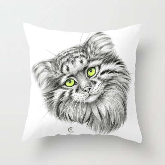 Pallas's Cat green G2012-51 Throw Pillow