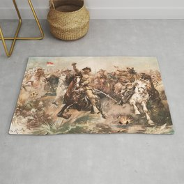 Teddy Roosevelt and The Rough Riders Charging Into Battle Rug