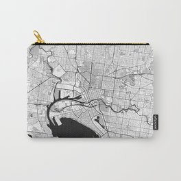 Melbourne City Map Gray Carry-All Pouch