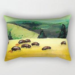Bison Landscape Rectangular Pillow