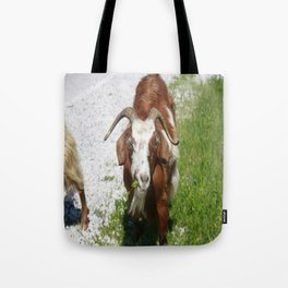 Whimsical Portrait of a Horned Goat Grazing Tote Bag