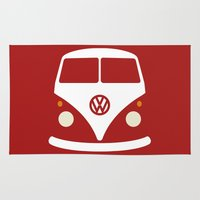 volkswagen Area & Throw Rugs featuring Volkswagen Split Bus by Nick Steen