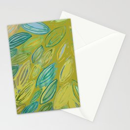 Watercolor Leaves Khaki Blue Painting Stationery Cards
