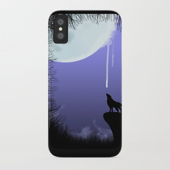 wolf drinking moon iPhone Case