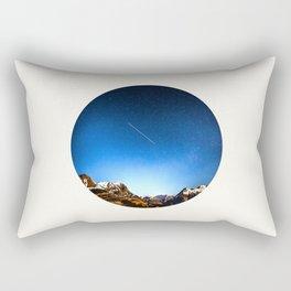 Mid Century Modern Round Circle Photo Minimalist Mountain Range Blue Sky Rectangular Pillow