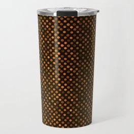 Retro Colored Dots Fabric Pumpkin Orange Travel Mug
