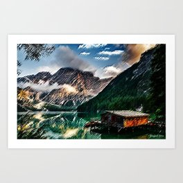 Wildsee Lake in the Italian Dolomites of South Tyrol Painting - Jéanpaul Ferro Art Print
