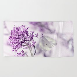 Butterfly macro white 55 Beach Towel