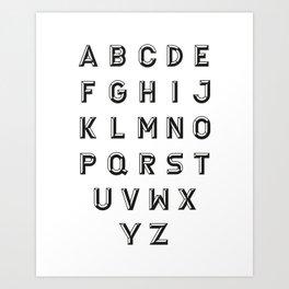 Chiseled Alphabet Black Art Print