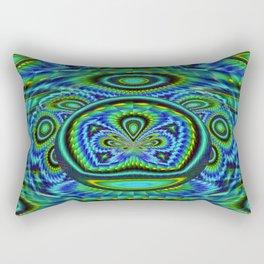 Blue/Green Ornate Abstract - seamless Rectangular Pillow