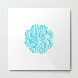 Blue Floral Mandara Metal Print