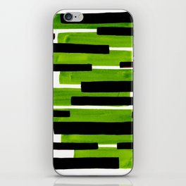 Lime Green Primitive Stripes Mid Century Modern Minimalist Watercolor Gouache Painting Colorful Stri iPhone Skin