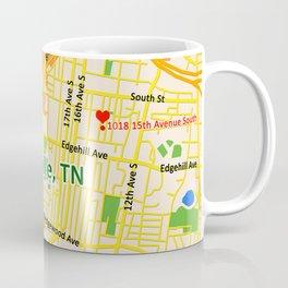 Map of Nashville, TN Coffee Mug