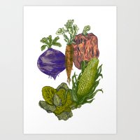 vegetables Art Prints featuring Vegetables by Marcelo Romero