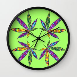 Patchwork Pot Leaves Wall Clock