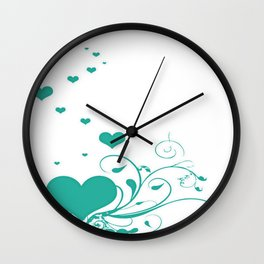 Aquamarine Valentine Hearts On A White Background Wall Clock