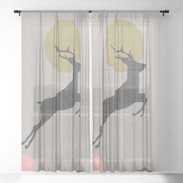 Deer Print, Woodlands Decor, Wall Art, Animals Print, Woodlands Nursery Art, Kids room Decor Sheer Curtain