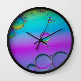 Oil drops in water. Abstract psychedelic pattern image multicolored. Abstract background Wall Clock