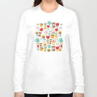 macaroon Long Sleeve T-shirts featuring yum yum by Anna Alekseeva kostolom3000