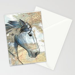 Gray Percheron on Vintage Map Stationery Cards