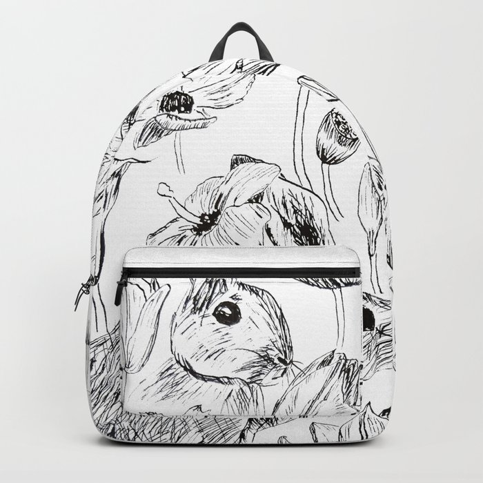 rabbits and flowers parties Backpack