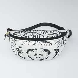 Succulent Design in Black and White Fanny Pack