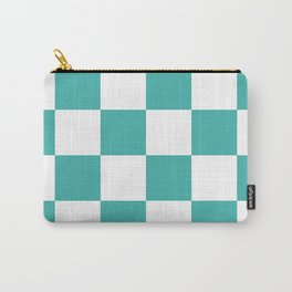 Large Checkered - White and Verdigris Carry-All Pouch
