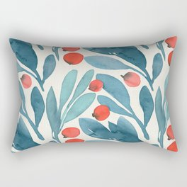 Winter Berries Botanical Pattern Rectangular Pillow