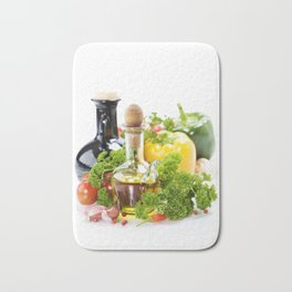 vegetables still life with olive oil and vinegar on white background Bath Mat